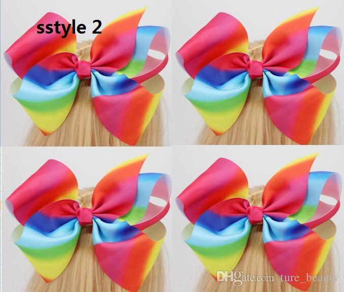 8 pulgadas Extra Gran Grosgrain Ribbon Rainbow Cheer Bows Caimator Cabello Clips Para Niñas Niños Niños /