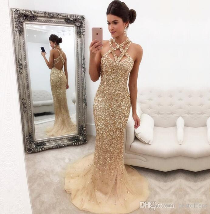 sparkling champagne mermaid prom dresses 2018 criss cross neck gorgeous major beading with. Black Bedroom Furniture Sets. Home Design Ideas
