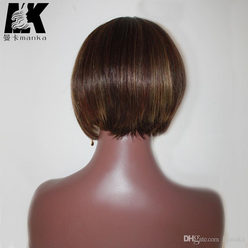 Style européen Péruvien Cheveux fait à la main perruques De Lacet Court Cheveux Humains Complet Perruques Pour Femmes Élégant perruques Classique Brésilienne Vierge Cheveux Perruque Capless