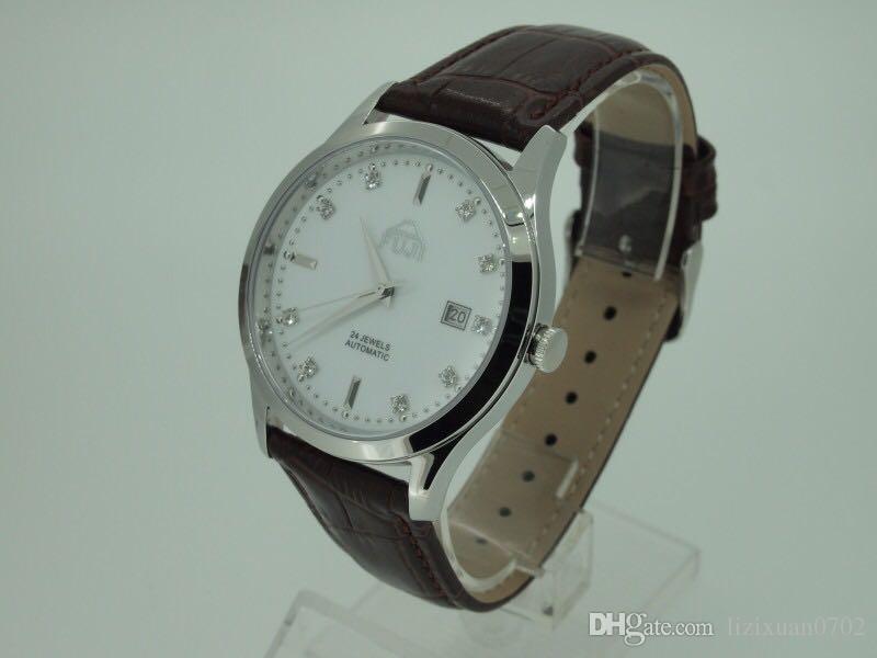 FUJI Fuji Marke große dünne Zifferblatt automatische Leder Damenuhr Freizeit Liebhaber Uhr zu sehen