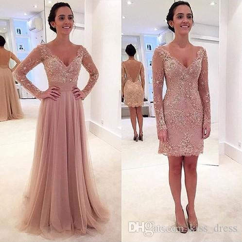 2019 New Long Sleeve Pink Lace Prom Dresses Removable Skirt V-Neck Beaded Backless Formal Evening Gowns Robe De Soiree Custom Made PR109