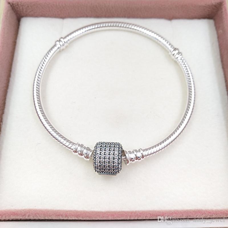 Autentico Bracciale in argento in argento sterling 925 con chiara zirconia cubica adatta perline europee di gioielli in stile Pandora perline 590723cz