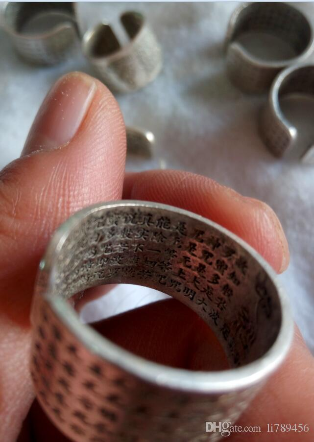 China's Tibet Tibetan silver inscriptions peace ring A3