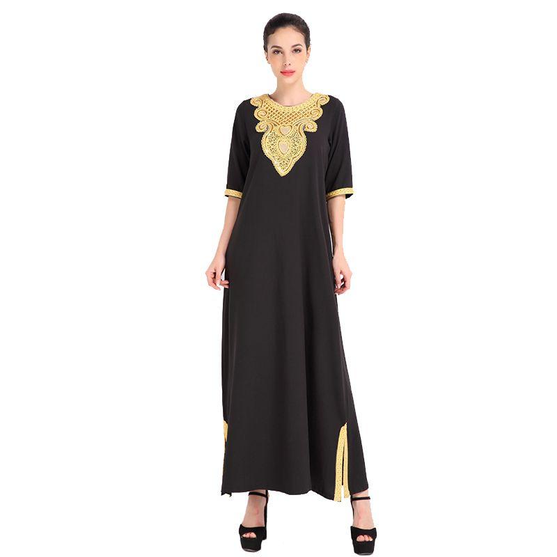 Compre Nuevo Verano Abaya Ropa Turquía Mujeres Musulmanas Bordado ...