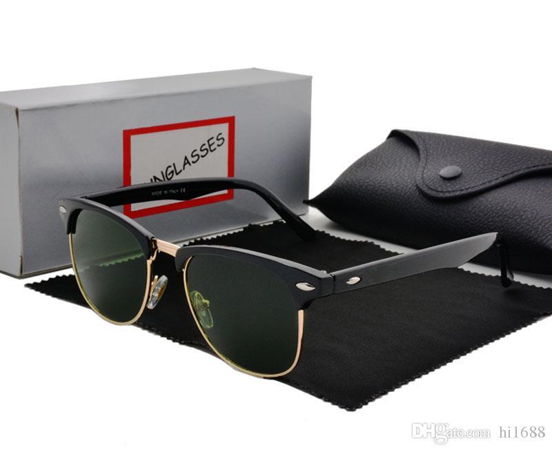 نوعية ممتازة مصمم الأزياء النظارات شبه بدون شفة نظارات شمس للرجال إمرأة الذهب الإطار الأخضر g15 العدسات الزجاجية مع الحالات ومربع