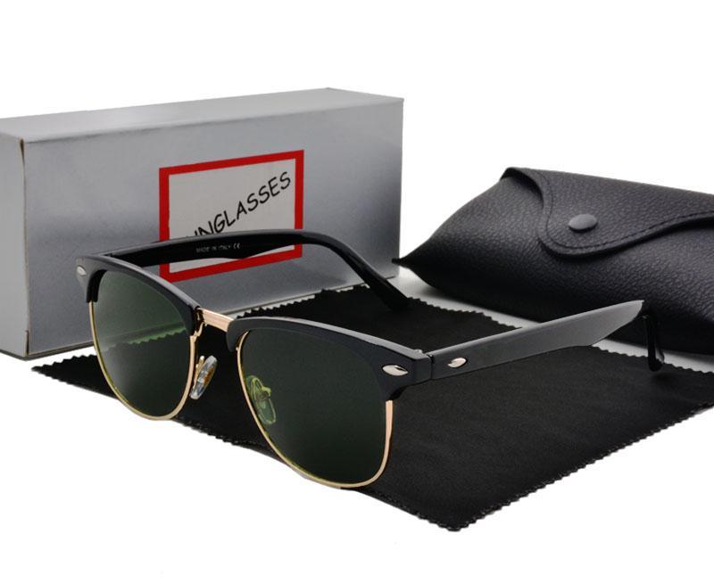 Occhiali da Sole Semi Rimless occhiali da sole da uomo di qualità eccellente Occhiali da sole con montatura in vetro verde G15 da uomo con astuccio e astuccio