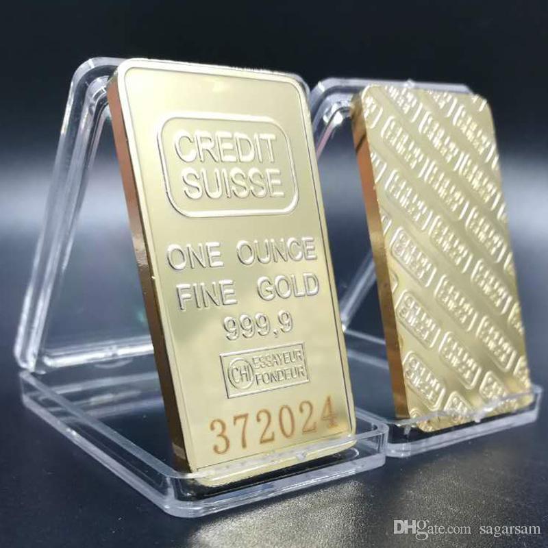 10 Stück Unmagnetisch CREDIT SUISSE 1Oz Gold 24K Bullion Bar Schweizer Souvenir Münze Geschenk 50 x 28 mm mit verschiedenen Serien Laser Nummer