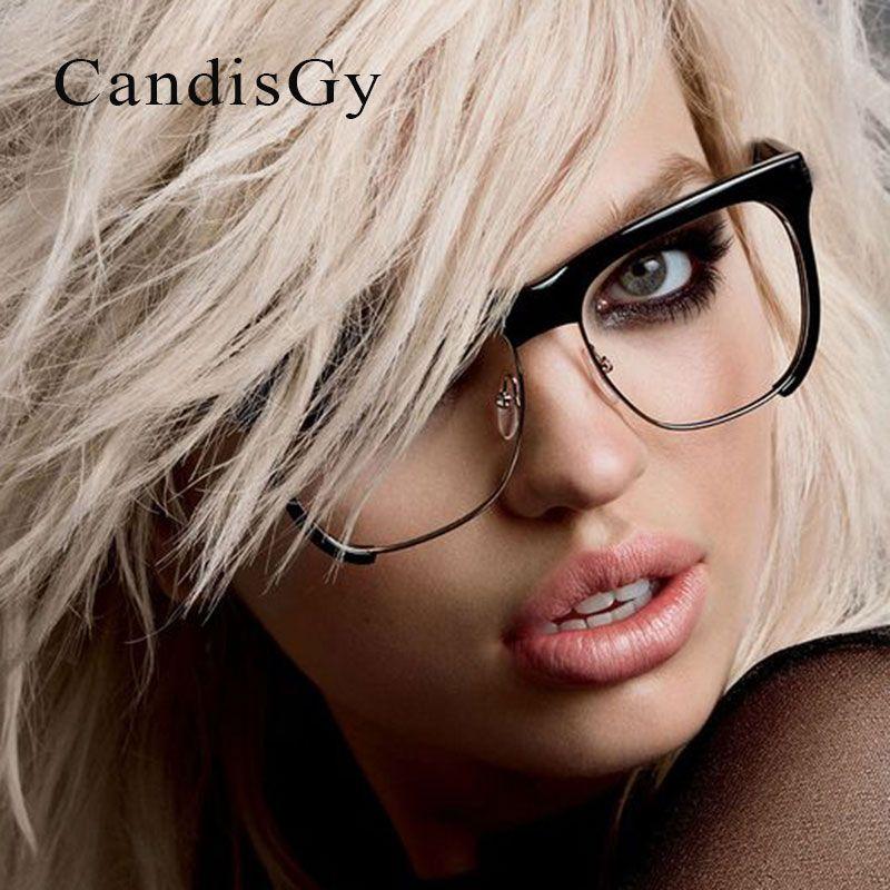 ea596431d3 2019 Wholesale Square Half Rims Glasses Fashion Frame Brand Designer Men  Women Optics Classic Eyeglasses Cheap Clear Transparent Lens From Juaner