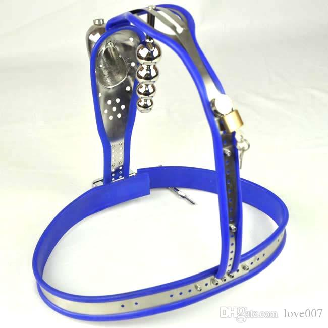 Male Fully Adjustable Model-T Stainless Steel Premium Chastity Device with Hole Cage Cover BLUE Plug color