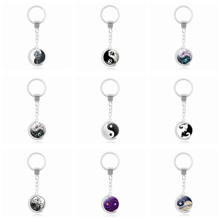 Good A++ Hot tai chi series double-sided rotating time gemstone key ring pendant alloy key ring KR225 Keychains a