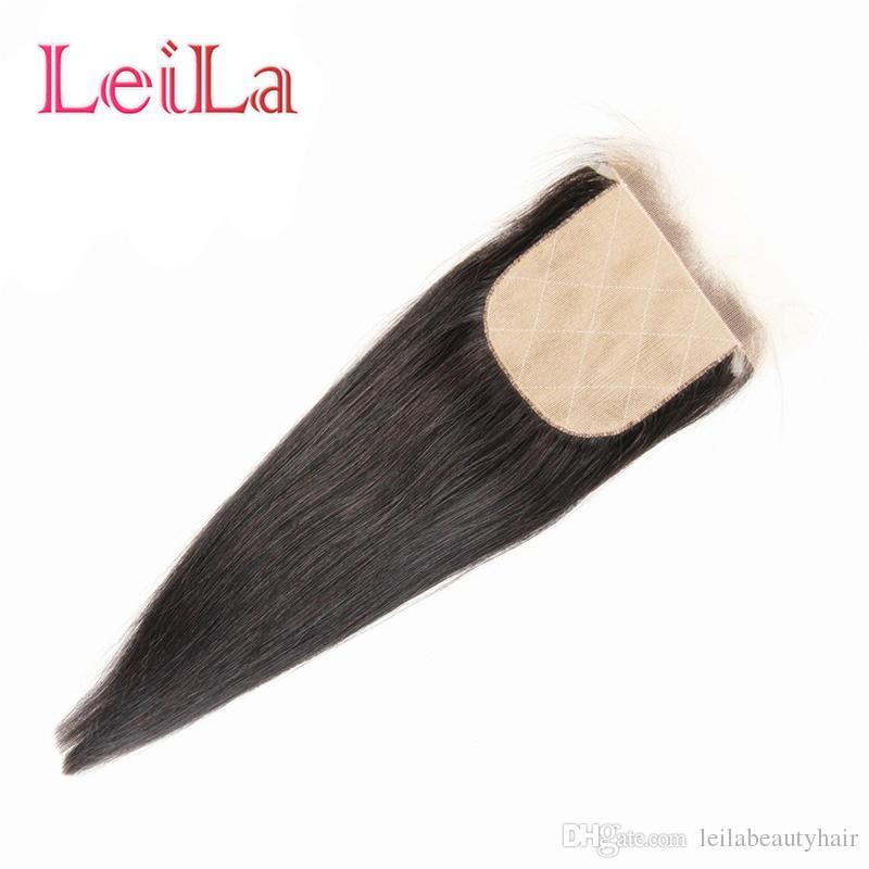 Base de soie indienne Vierge Cheveux Humains Cheveux Raides 4X4 Fermeture Dentelle Noeuds Blanchis Couleur Naturelle Top Fermetures De Leilabeautyhair