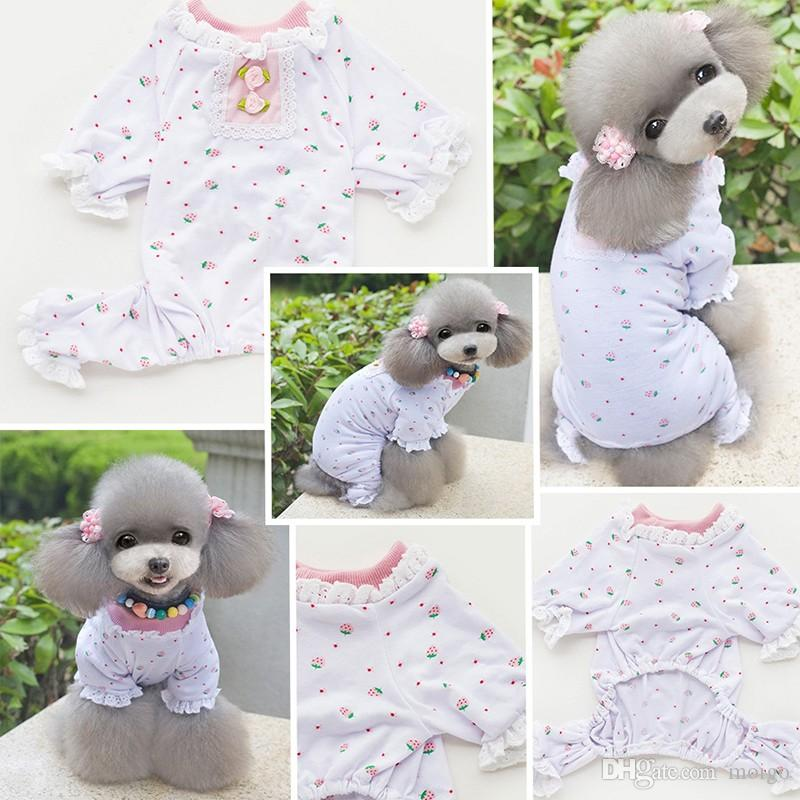 T-shirt cani Pet Puppy Lace Floral Pajama Casual Doggy Summer Clothes XS-XL