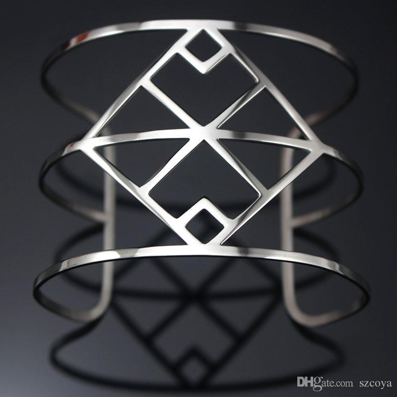 Silver-color Cuff Bracelets Hollow Out Femme Bracelet Wide Bangles for Women Fashion Brand Designer Jewelry H Love Bangle