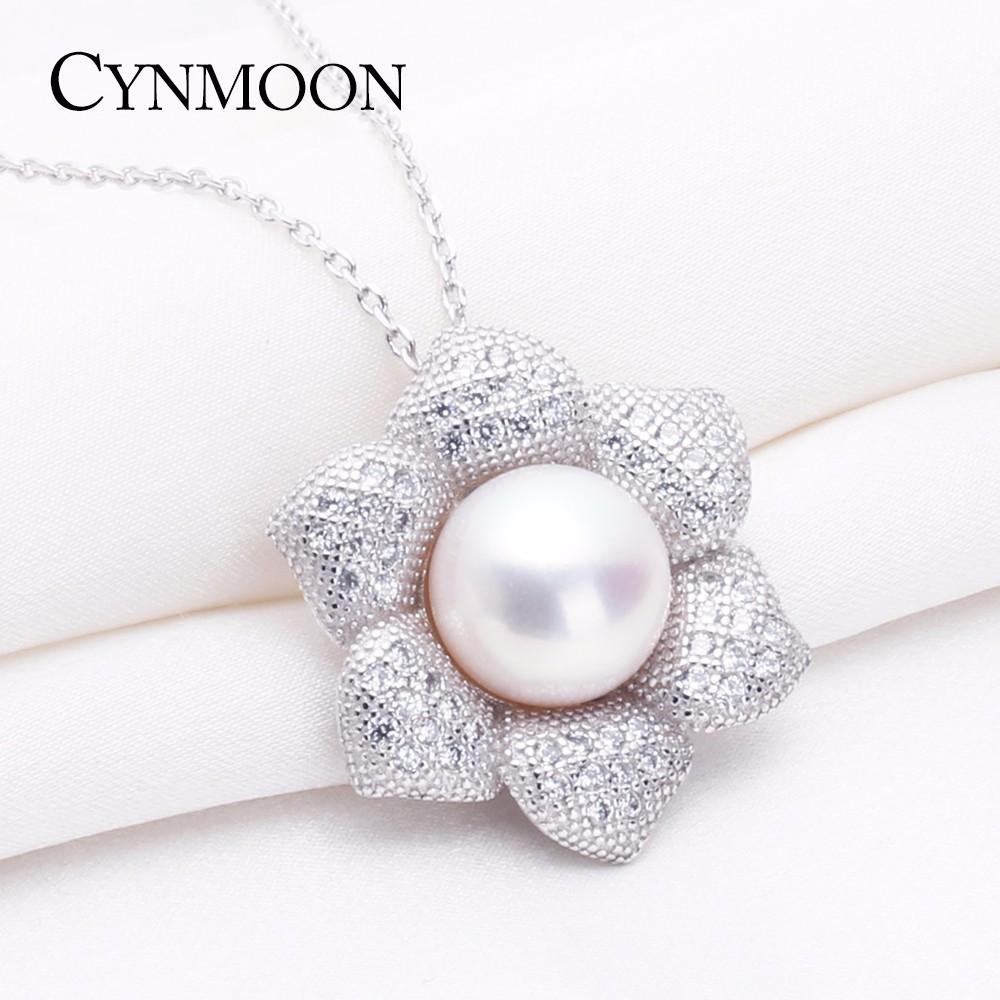 silver chain jewelry necklaces item gift pink cubic natural pendant pearl in from for zirconia feige sterling freshwater women