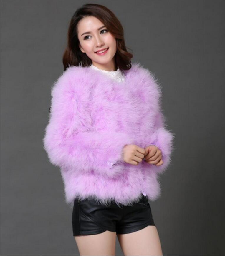 Fashion Women Faux Fur Coat Sexy Ostrich Wool Turkey Fur Coat Long Sleeve Candy Color Feather Fur Short Jacket