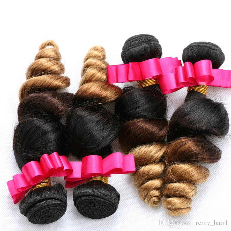 Loose Wave Peruvian Ombre Human Hair Bundles With Frontal #1B/4/27 Honey Blonde Ombre Weaves With 13x4 Lace Frontal Closure