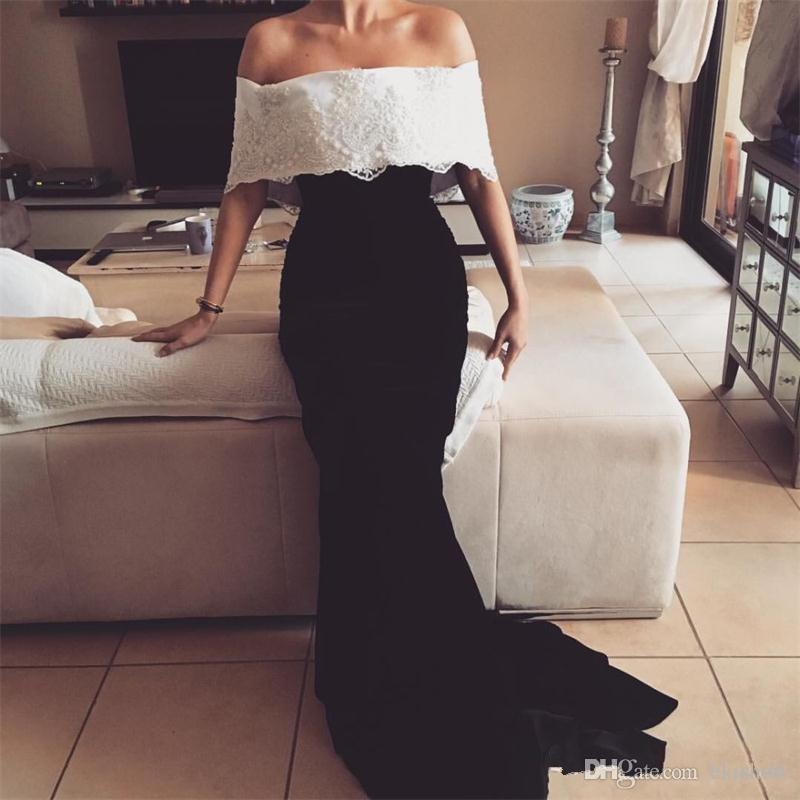 2017 Elegant Boat Neck White and Blac Applique Mermaid Evening Dresses Stretch Satin Floor-Length Short Sleeve Prom Gowns Customize