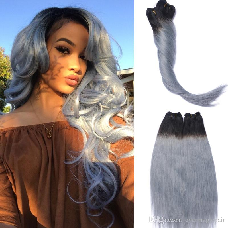 Full Head Clip In Human Hair Extensions Grey Straight Brazilian