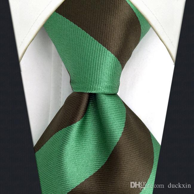 f1adeacbee0f4 C27 Green Brown Striped Silk Mens Necktie Tie Fashion Classic Extra Long  Size Ties For Male Dress Novelty Accessory Ascots Custom Ties From Duckxin