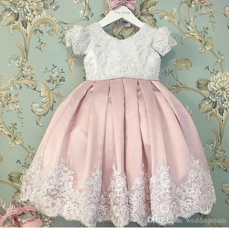 Винтажное бальное платье с кружевами и цветочными платьями для девочек с короткими рукавами для свадеб