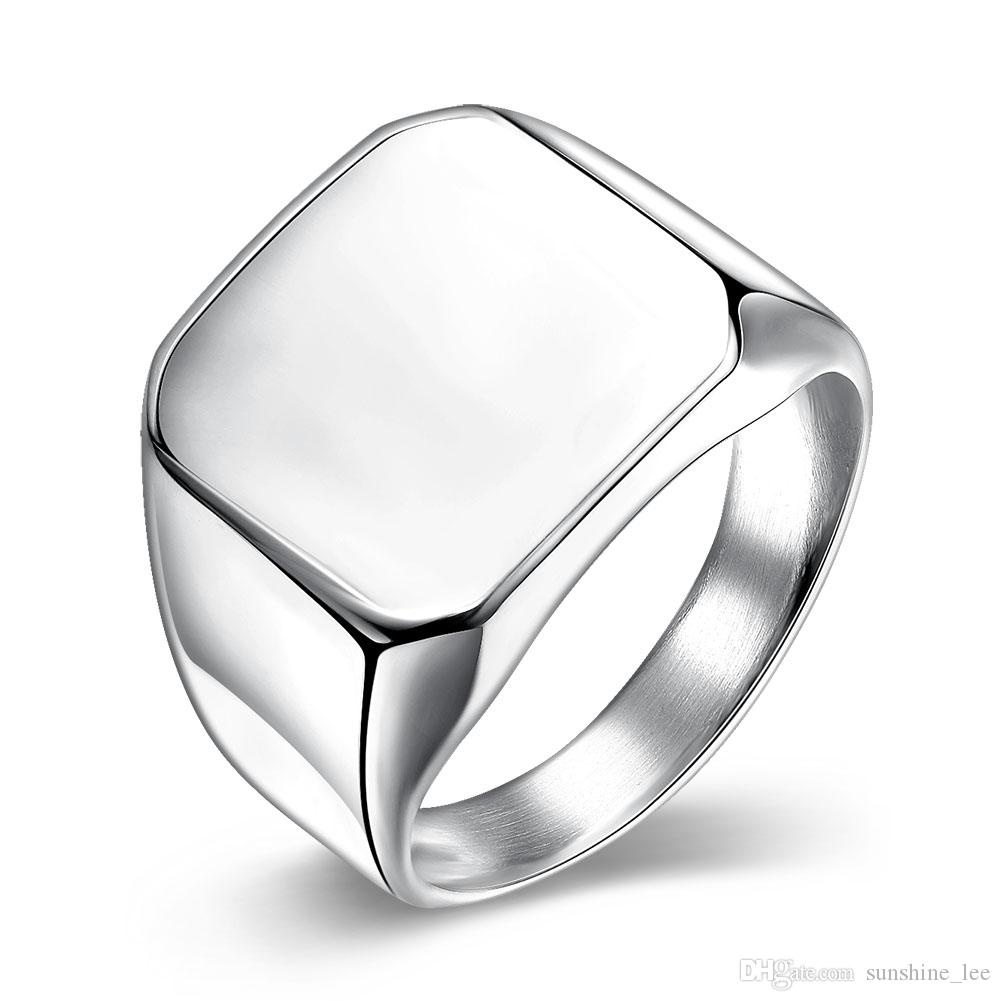 new design square stainless steel ring 18k white gold plated rings jewelry for partty wedding mix size from sunshinelee 232 dhgatecom