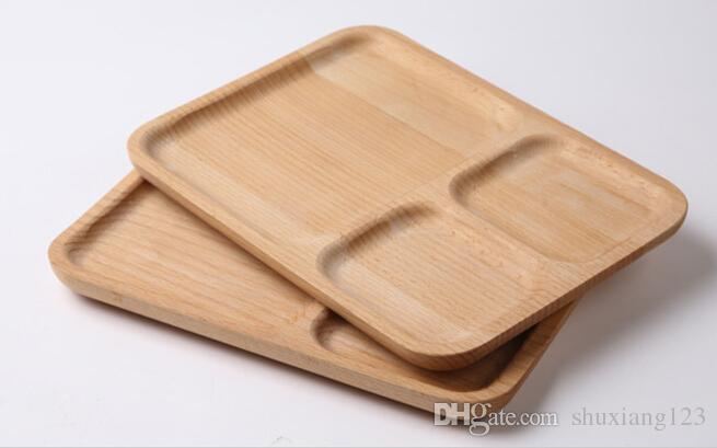 Solid Wood Tableware Compartment Tray Beech Dinner Plate Japanese And Korean Creative Wood Environmental Protection Wooden Solid Dinner Plate Wooden ... & Solid Wood Tableware Compartment Tray Beech Dinner Plate Japanese ...