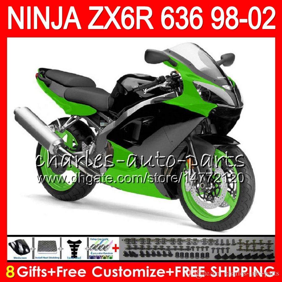 8Gifts For KAWASAKI NINJA ZX6R 98 99 00 01 02 ZX636 ZX 6R 636 Green Black 31NO36 600CC 1998 1999 2000 2001 2002 Fairing Kit Motorcycle