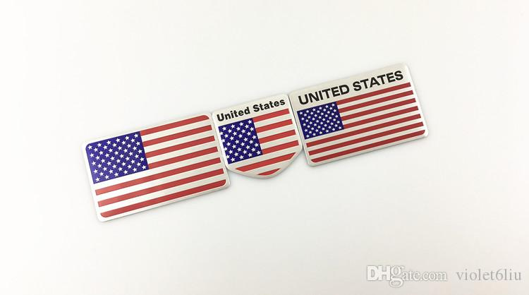 3D Alloy Metal US USA The United States American Flag Sticker Logo Car Auto Sport Badge Chrome Emblem Decals Car Styling decal