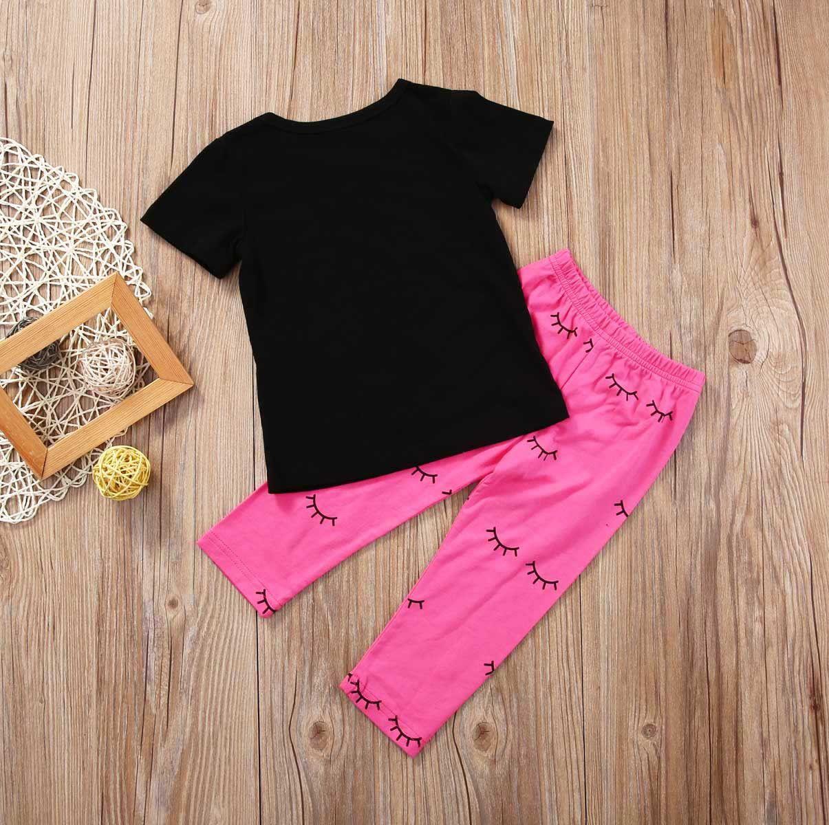 2017 Summer Toddler Infantile Kid Bébé Filles Tenues Noir T-shirt Tops + Leggings Rose Pantalon Vêtements