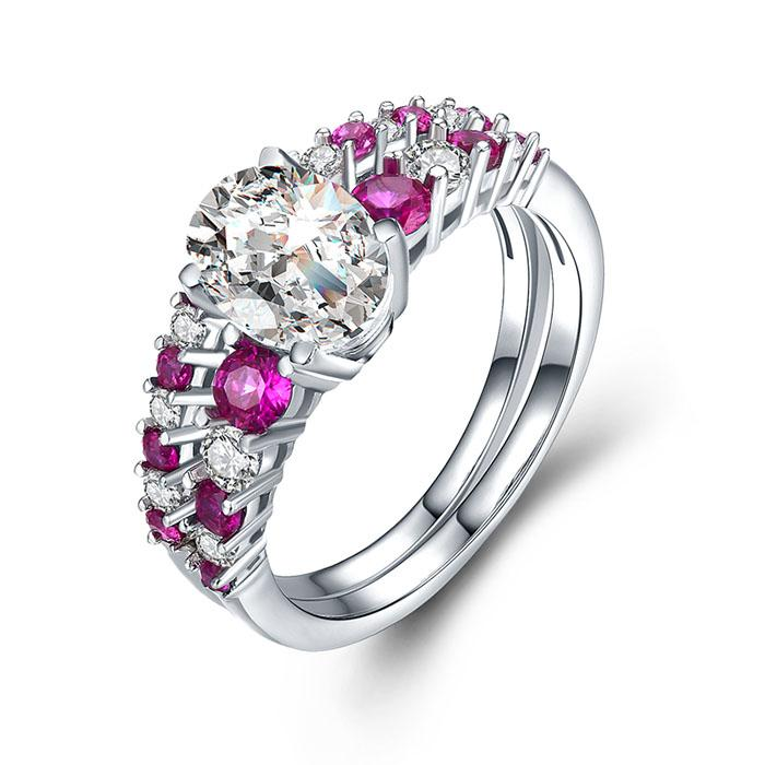 2018 925 Sterling Silver Ruby Women Rings Set Solid Cubic Zirconia