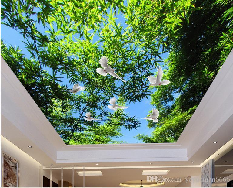 3d обои на потолке голубое небо ветви 3D потолок обои для ванных комнат стереоскопический пейзаж потолок