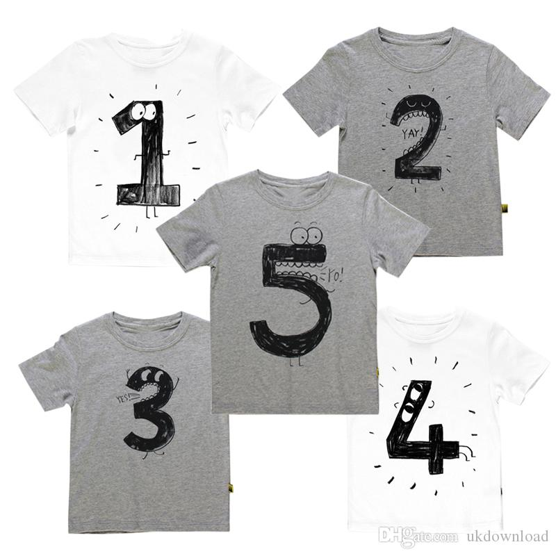 2018 2017 Number Letter Boys Print T Shirt For Kids Summer Shirts Baby Boy Funny Birthday Casual Tops From Ukdownload 673