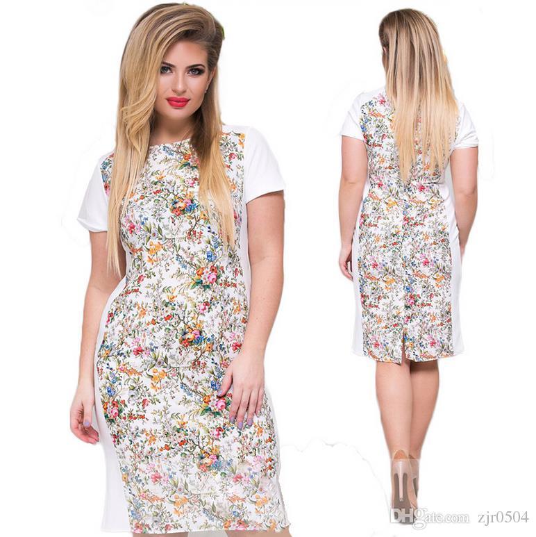2017 Women Large Size Mini Dress Plus Size L 6x Ladies O Neck Short