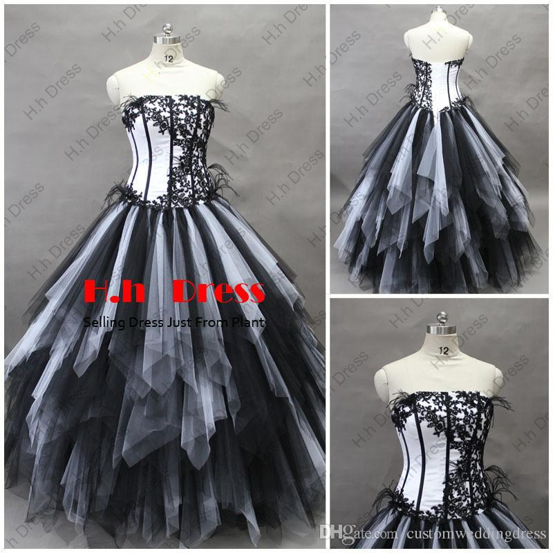 2018 new design hot seller long bandage dress barbie clothes Sexy Black White Tulle ball gown appliques Prom Dress