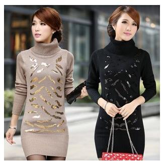d7c9c354e6 Wholesale- New Fashion 2016 Autumn Winter Women Turtleneck Sweater .