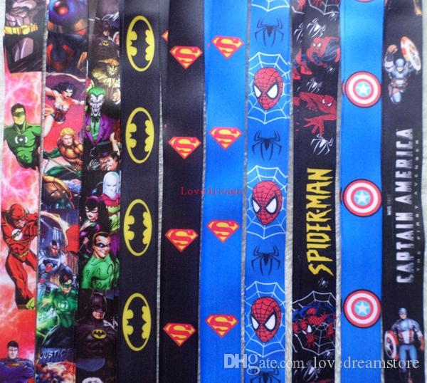 Cartoon Superman Super hero Neck Lanyard key chain Mobile cell phone neck straps charms