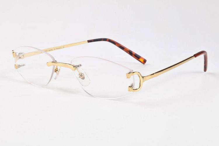 14d2a96c822 2019 2017 Brand Designer Rimless Glasses Frame Clear Lenses Fashion Men  Women Sunglasses Gold Silver Metal Frame Buffalo Horn Glasses From  Myglasses