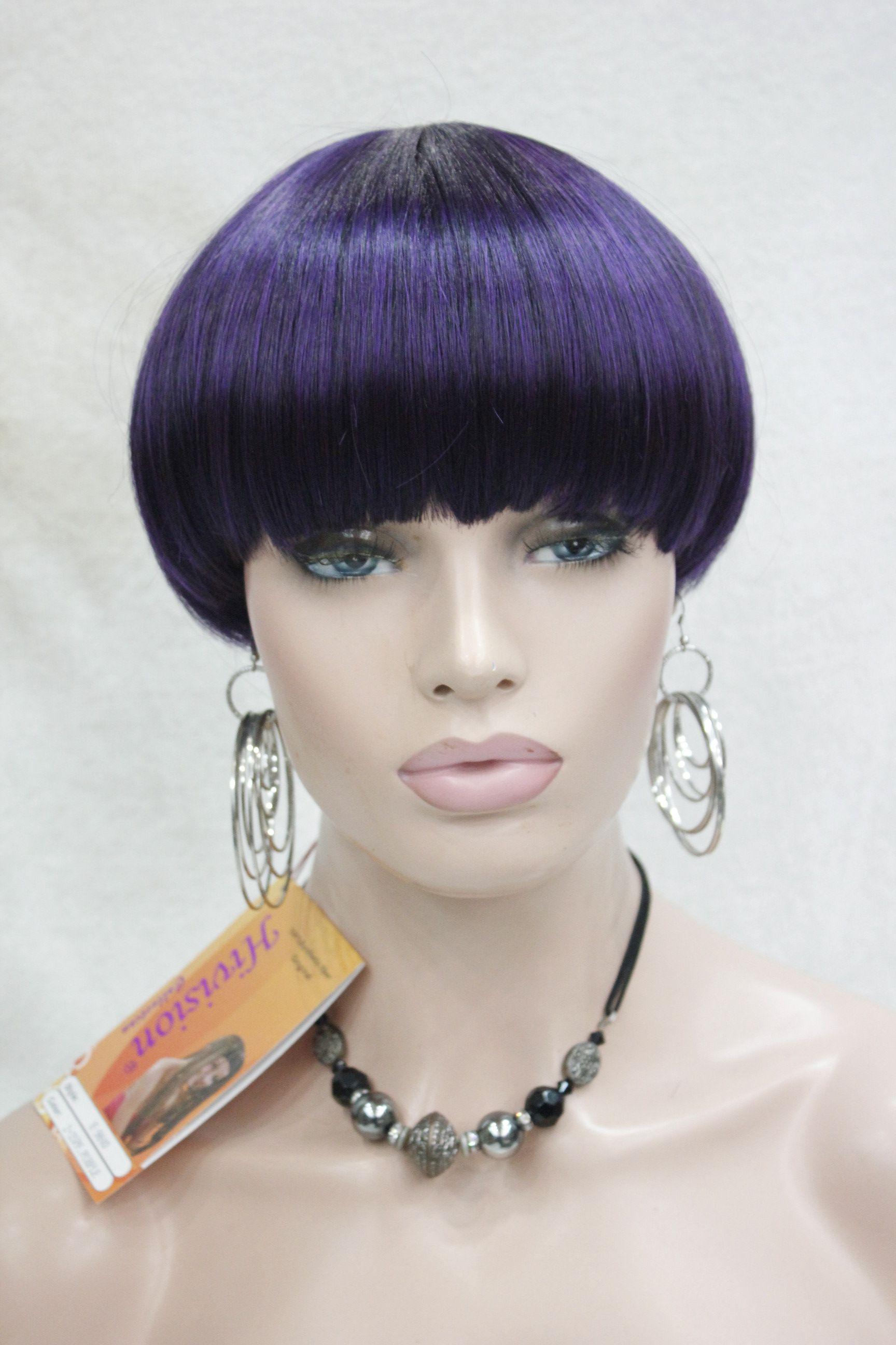 Hivision Hot Fashion Purple Mix Black Bob Mushroom Style With Bangs
