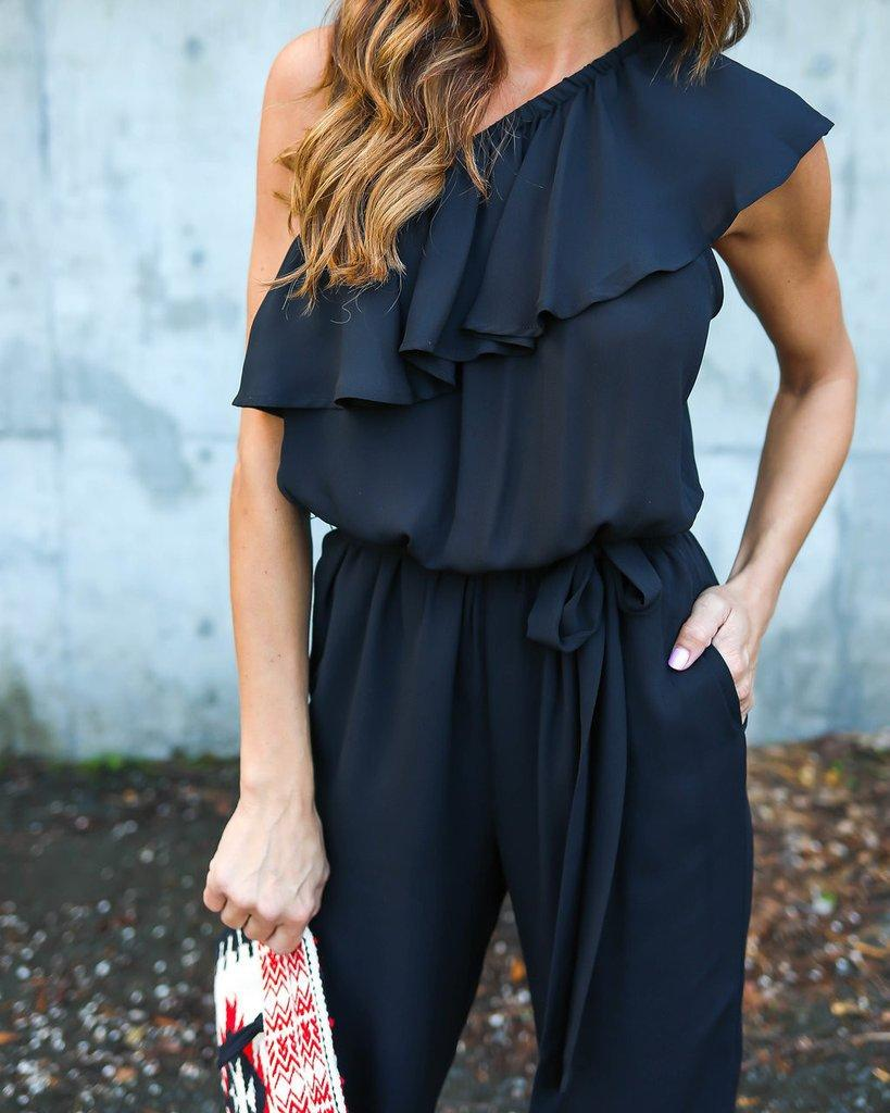 Jumpsuits 2017 Summer Ruffles Chiffon Overalls Sexy Casual One Shoulder Long Playsuits Rompers Women Jumpsuit Plus Size GV608