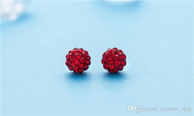 Moda Coreano contas Brincos 7 cores Senhoras de cristal Strass brincos de Bola Para as mulheres de Jóias de Luxo em Massa