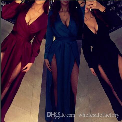 Sexy Burgundy Long Sleeves Prom Dresses A Line V Neck Splits Evening Gowns Formal Party Dresses Vestidos de festa