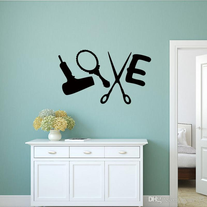 Hot Love Hair Stylist Sticker Decal Dryer Scissors Salon