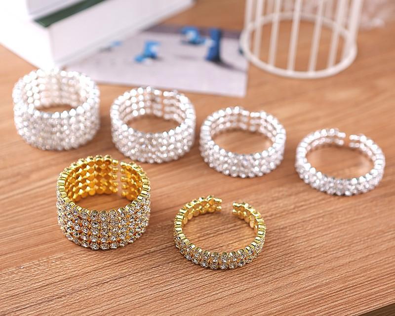 Hohe Qualität 5 Reihe breite Braut Hochzeit Manschette Armreif große Kristall Strass Stretch Armband neue Modeschmuck Zubehör für Frauen