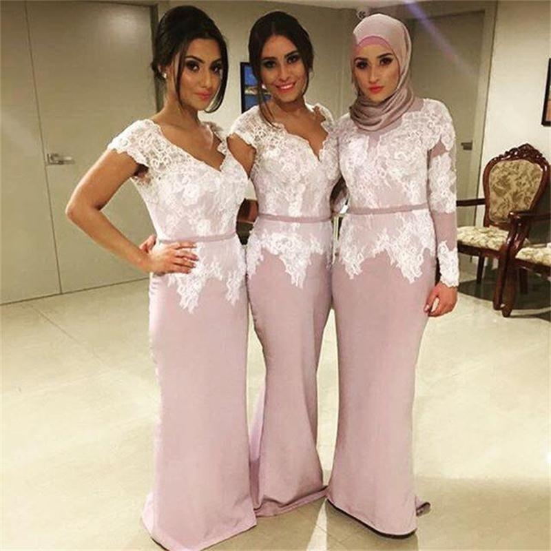 Compre 2017 Nueva Dama De Honor Musulmana Sirena Vestidos De Blanco ...