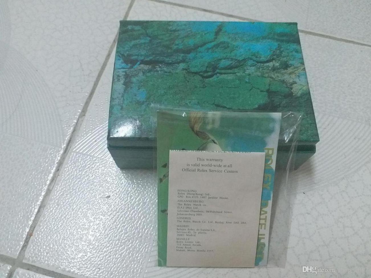 O envio gratuito de relógio de luxo mens para rolex caixa de relógio original outer interior da mulher relógios caixas homens relógio de pulso caixa verde booklet cartão