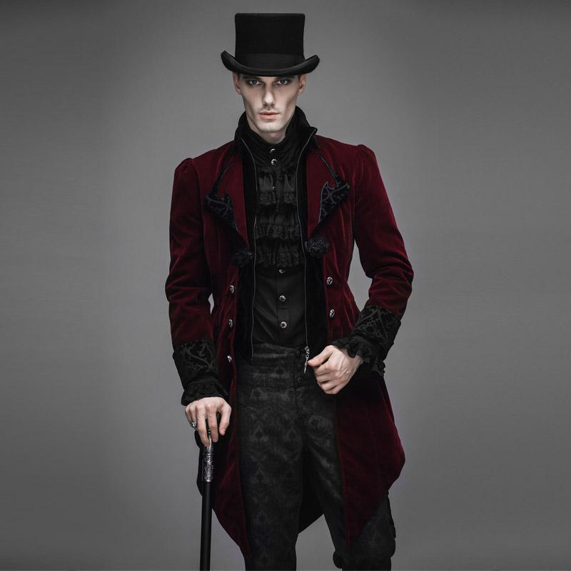 2018 Wholesale New Steampunk Goth Men Long Fashion Runway Style Coat MenS Neutral Slim Chinese Gothic Velveteen Trench From Hongyeli