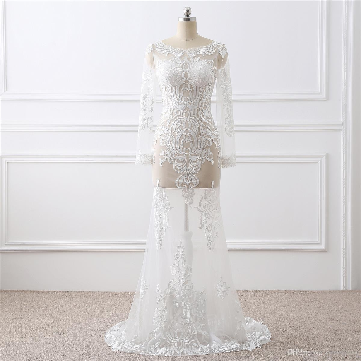 Lace Embroidered Mermaid Wedding Gown With Illusion Long Sleeves Sheer Neck See Through Tulle Sweep Train Real Photo Bridal Wedding Dresses