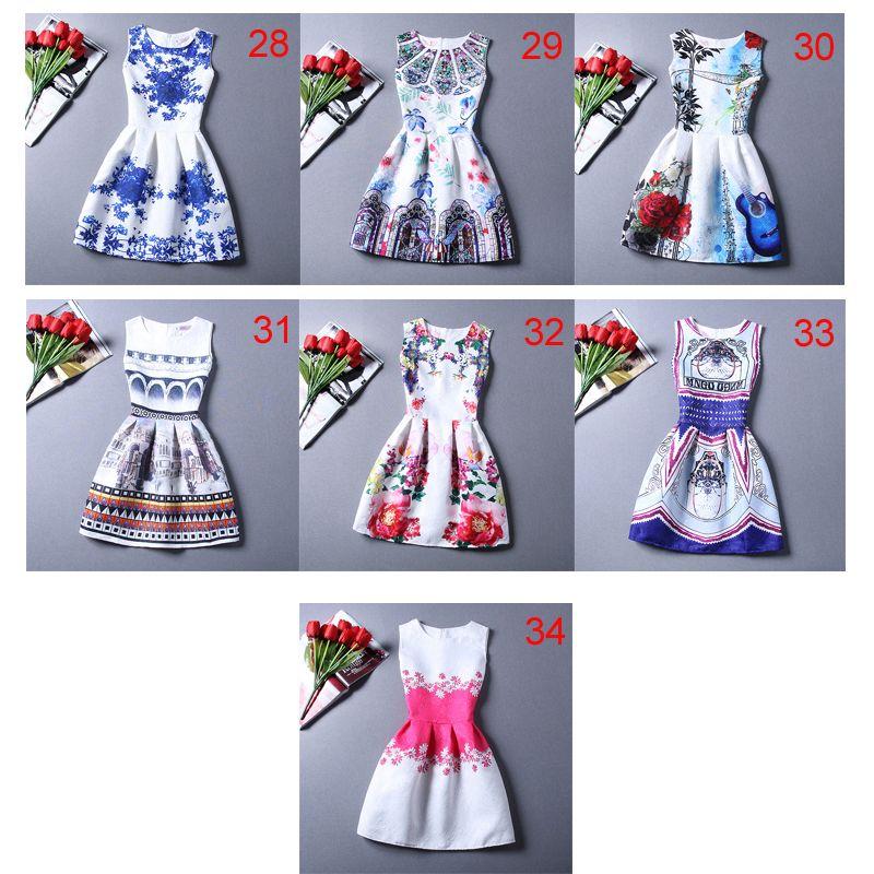 Wholesale- New Arrival Women Colourful Round Neck Sleeveless Graffiti Print Jacquard Dresses Ladies Cute A Line Short Dress