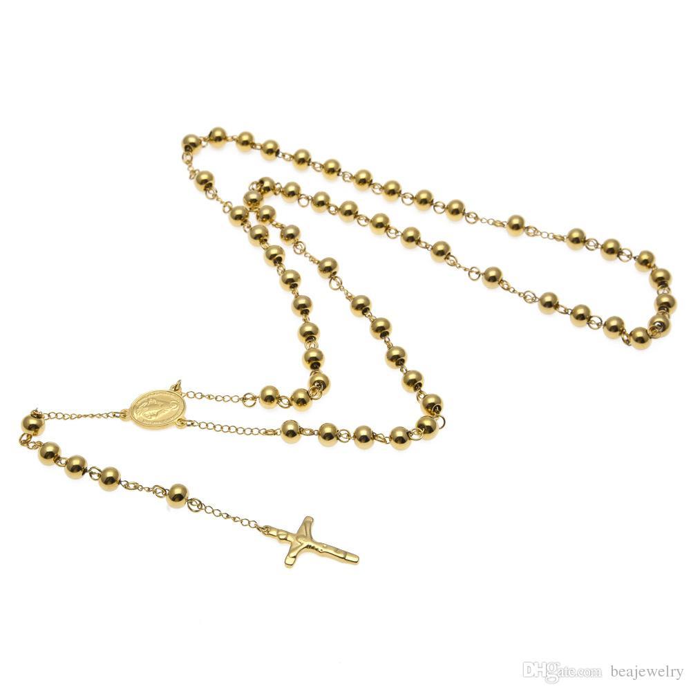 NUEVA Diosa católica Virgen de Guadalupe cuentas de 8 mm 18 K chapado en oro Rosario collar joyería Jesús crucifijo cruz colgante