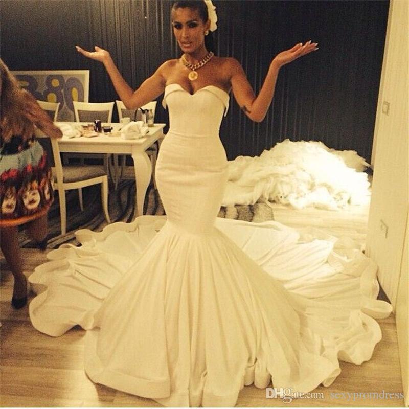 Conception simple blanc robes de mariée sirène 2017 été chérie tribunal train plage robes de mariée sur mesure en mousseline de soie pas cher robes